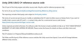Unity,エンジン部とエディタ部のC#ソースコードをGitHUBで公開